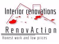 Interior inside renovations, painting, panels, carpets, windows, door, paperhanging