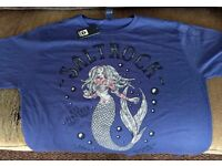 Saltrock t-shirt XL - blue - tattooed mermaid