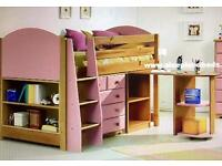Mid sleeper cabin bed with chest of drawers, pull out desk and bookcase