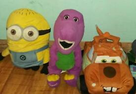 3 large soft toys Mater, Minion and Barney