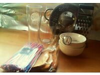 Set of Bowls,wooden spoons,milk thermometer and measuring jar and more only £6
