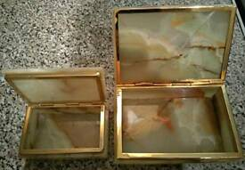 2x SOLID ANTIQUE GREEN ONYX TRINKET/JEWELRY BOX'S