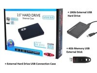 USB External Hard Drive Case PLUS External Hard Drive & USB Memory Stick