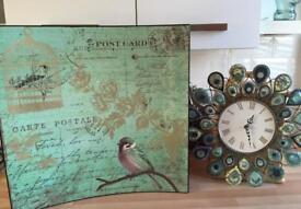 Next large wood picture & Dunelm clock