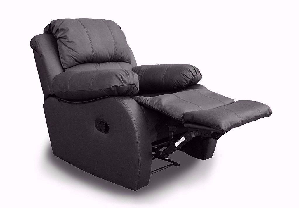 Genuine leather recliner armchair, available in dark brown, cream and black.