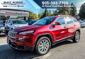 2017 Jeep Cherokee LIMITED, GPS NAV, HTD/VENT LEATHER, REMOTE ST