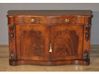 Attractive Antique Victorian Mahogany Serpentine Chiffonier Sideboard Cabinet