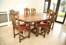 Beautiful rare solid wood oak dining table & 10 chairs extendable ideals for xmas