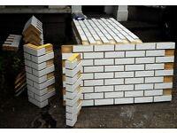 "3 BRICK-TILE-PANELS and 8 CORNERS NF101 ""ISO-GLAZED WHITE"