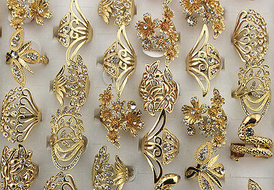 Costume Jewelry Various Lots 28pcs Gold Plated Rhinestone Noble Girl 's Big Ring (Ring Girl Costume)