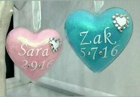 PERSONALISED GLITTER BABY HEART BAUBLE