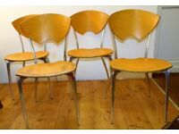 Set of four vintage stacking chairs antique industrial retro garden cafe metal kitchen dining wooden