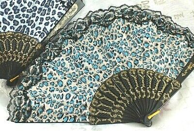 BLUE BEIGE LEOPARD BLACK LACE HAND FAN DANCE WOMEN GIRL FANCY WEDDING...