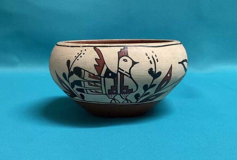 Signed C C TOSA Jemez Pueblo Native American Pottery Pot Bowl  Bird Floral