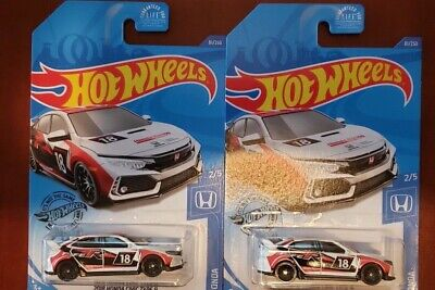 HOT WHEELS 2020 K CASE LOT OF 2, 2018 HONDA CIVIC TYPE R , USA CARDED!