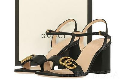NEW GUCCI LIFFORD BLACK LEATHER DOUBLE G 3' HEELS SANDALS SHOES 35/US 5