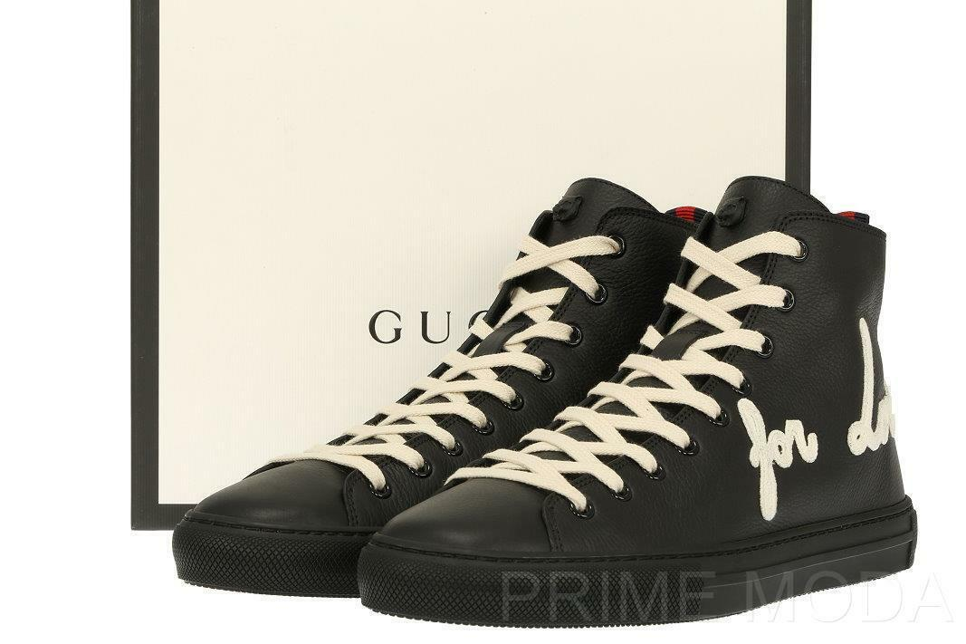 NEW GUCCI CURRENT BLACK LEATHER BLIND FOR LOVE HIGH TOP SNEAKERS SHOES 13G/US 14