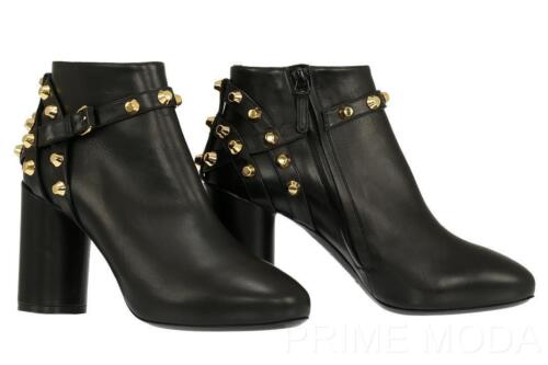 NEW BALENCIAGA BLACK LEATHER STUDDED DETAIL BOOTIES BOOTS  H