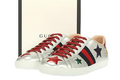 NEW GUCCI ACE CURRENT SILVER LEATHER LOGO LACE-UP LOW TOP SNEAKERS SHOES 39/US 9