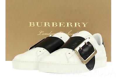 Nuevo Burberry Piel Blanca Detalle Hebilla Logo Zapatillas 37 / Us 7