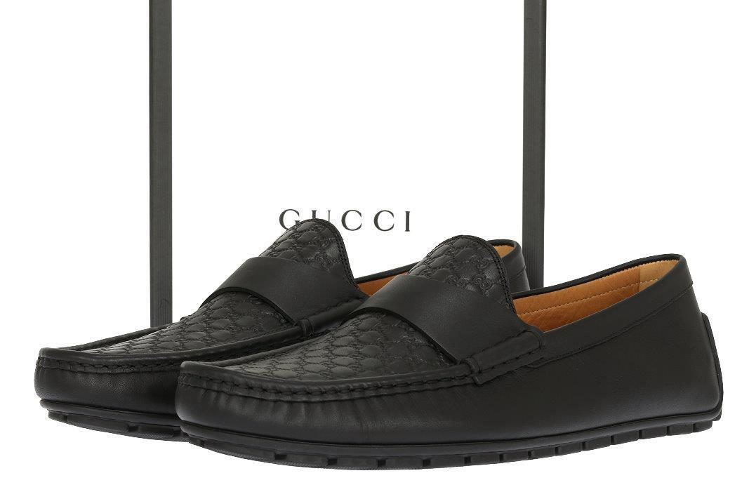 NEW GUCCI MEN'S FABULOUS MICROGUCCISSIMA LEATHER LOAFERS DRIVER SHOES 9/US 9.5