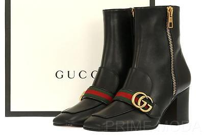NEW GUCCI DOUBLE G WEB DETAIL BLACK LEATHER ANKLE HEELS BOOTS SHOES 39.5/US 9.5