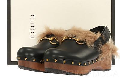 NEW GUCCI BLACK AMSTEL FUR LINED WOODEN PLATFORM HEELS SHOES CLOGS 36.5/US 6.5