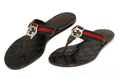 NEW GUCCI  BROWN LEATHER WEB INTERLOCKING THONG FLIP FLOP SANDALS SHOES 35/US 5