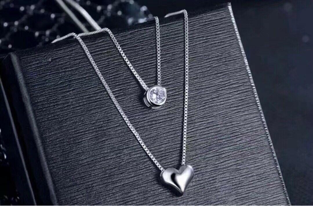 Jewellery - 925 sterling silver two layer heart crystal pendant necklace women's jewellery