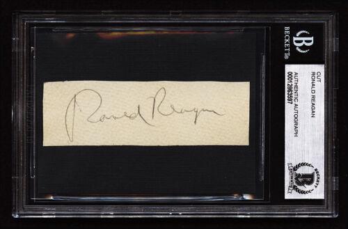 **** Ronald Reagan Signed Cut Autograph 2 Beckett BAS ***