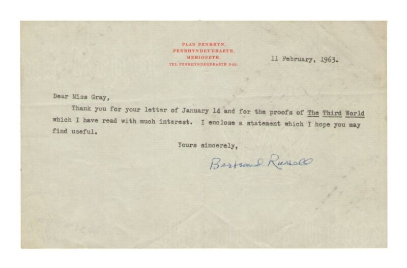 Bertrand Russell British Philosopher Autograph Note/Letter - Authentic!