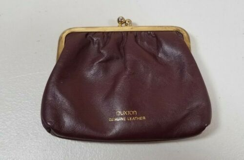 Vintage Buxton Brown Leather Change Coin Holder Purse Bag