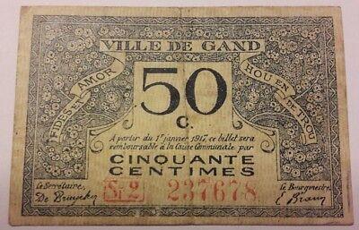50 CENTIMES 50 Cent 1917 GENT Belgique Belgïe  WWI Gand