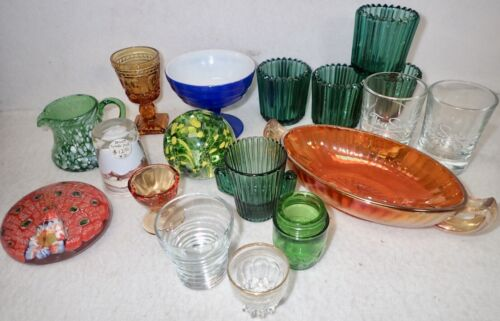 box lot of vintage colored & clear glass collectibles votives paper weights bowl