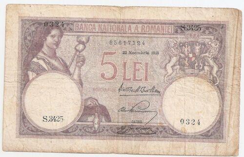 ROMANIA 5 LEI 1928 F
