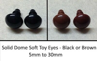 Solid Dome Eyes PLASTIC BACKS - Teddy Bear Making Soft Toy Doll Animal Craft