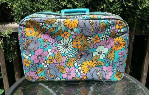 """Vintage 60s 70s Floral Travel Luggage Bag 19"""""""