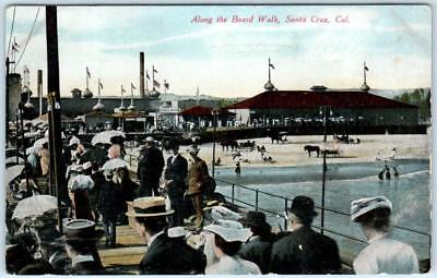 SANTA CRUZ, California  CA  View ALONG THE BOARDWALK  ca 1910s  Postcard