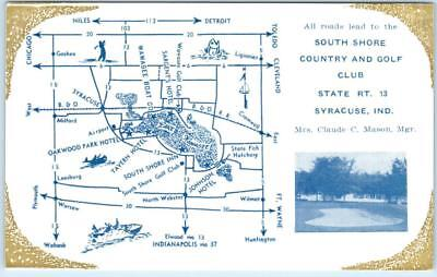 SYRACUSE, Indiana  IN    SOUTH SHORE COUNTRY and GOLF CLUB  Map   Postcard