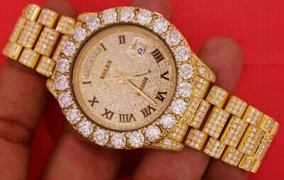 Rolex Gold President Day Date 2 41mm Watch 30 Carat Fully Iced Out Diamonds
