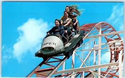 SANTA CRUZ BOARDWALK, CA  Roller Coaster JET STAR Amusement Park Postcard
