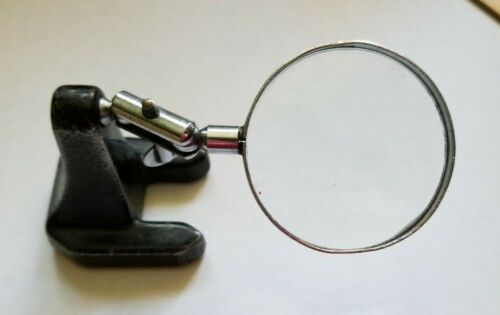 """Vintage Adjustable 2.5"""" Magnifying Glass on 2.25"""" by 2"""" by 3"""" Cast Iron Stand."""