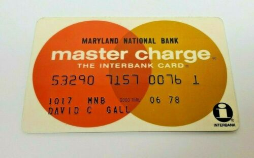 Master Charge Credit Card Maryland National Bank expired June 1978