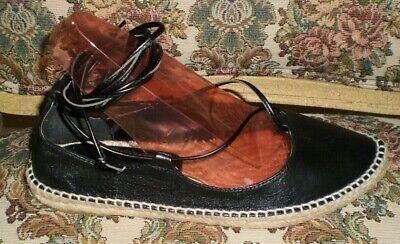 ZARA Woman Leather Flats Espadrille Lace Up Ankle Black Size 37/USA 6.5 FREE SH.