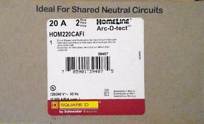 Square D Homeline Hom220cafi 2-pole 20amp Arc-fault Afci Breaker New In Box