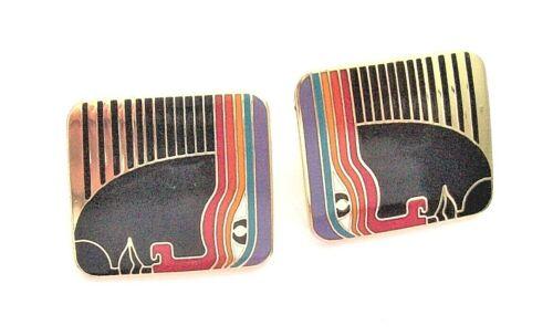 Vintage Laurel Burch Geometric Enamel Rabbit Clip-On Earrings