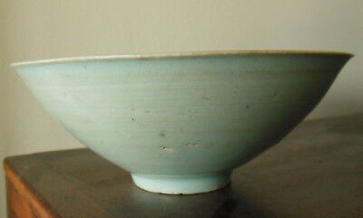 Antique Chinese Light Green Song Celadon Bowl W Clowds Insicions   Unglazed Foot
