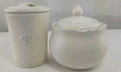 Shabby Chic Fleur de lys Vanity Set Toothbrush Holder Jar Container Ceramic - Fleur De Lys Ceramic