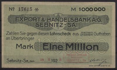 [21137] - Notgeld SEBNITZ, Herbert Dittrich auf Export- & Handelsbank AG, 1 Mill
