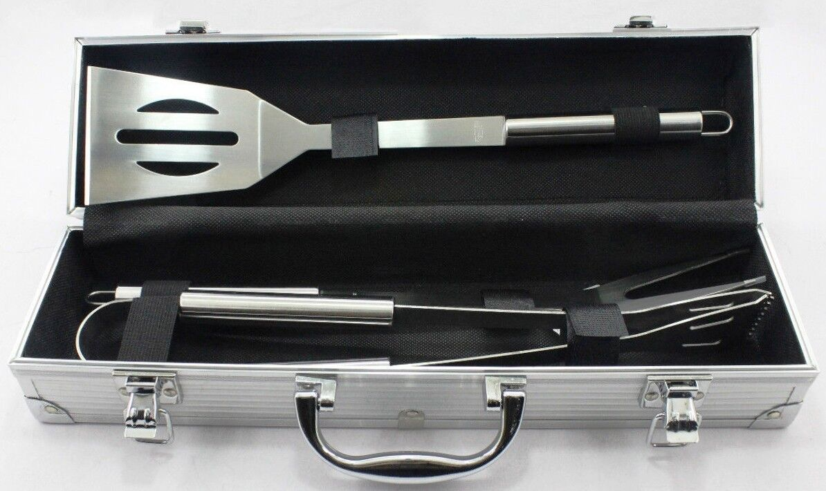 3 Piece BBQ Set Stainless Steel Outdoor Grill Tools Set Aluminum Case - $20.00